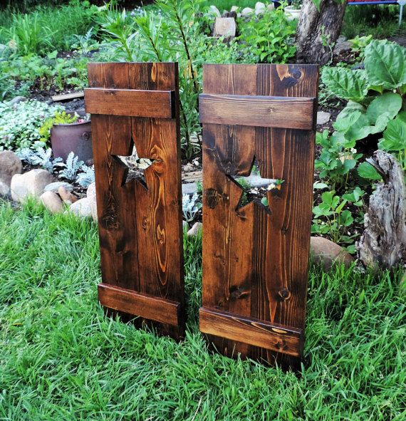 Rustic shutters, wall decor, wooden star wall art - 30 inch by Blue Frog Woodworking