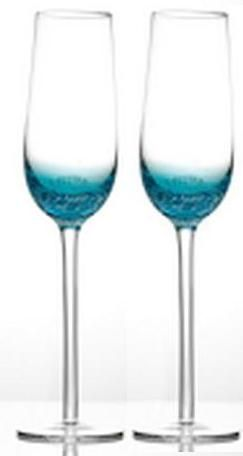 A pair of elegant blue base champagne glasses for the bride and groom. Hire them for $4.50 each