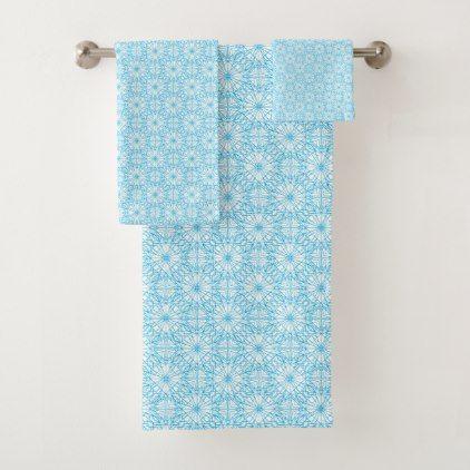 Bright Light Blue Geometric Symmetry Pattern Bath Towel Set - pattern sample design template diy cyo customize