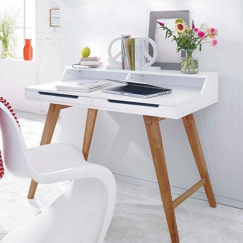Sekretär im modernen Retro-Look in natur/weiß. #impressionen #living