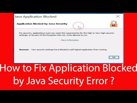 How To Fix -Application Blocked By Java Security Error In Java 8? - YouTube