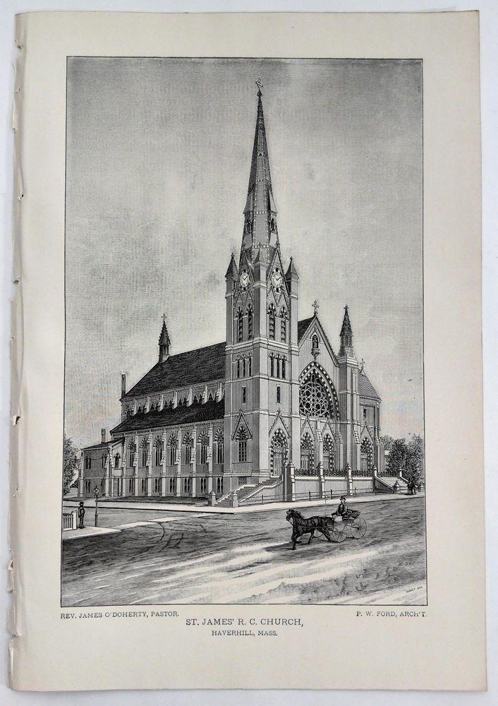1888 Engraving St. James R. C. Church Haverhill Ma. Rev. James O'Doherty History