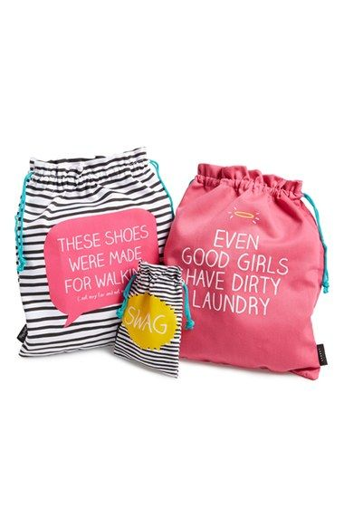 Free shipping and returns on WILD AND WOLF Happy Jackson Travel Bags (Set of 3) at Nordstrom.com. A trio of cotton bags detailed with cheeky sayings are perfect for storing jewelry, shoes, dirty laundry or anything you want easy access to while traveling.