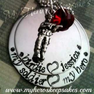 Army Wife - Army Girlfriend - Military Jewelry - Hand Stamped 2 Disc Stainless Steel Necklace with Standing Soldier & Red Swarovski Heart ...Item hand made by me... Retail $16.00 plus shipping... Follow Me on Facebook: www.facebook.com/myheroskeepsakes www.myheroskeepsakes.com