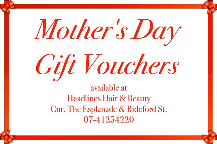 Mother's Day ⚜Gift Vouchers⚜ Headlines Hair & Beauty Cnr. The Esplanade & Bideford St. Torquay. Hervey Bay. 07-41254220 #mothersday #spoilmum #giftvouchers #voucher #gift #giftideas #pamper #treat #hair #beauty #hairsalon #beautysalon #herveybay #torquay #giftformum #headlinesherveybay