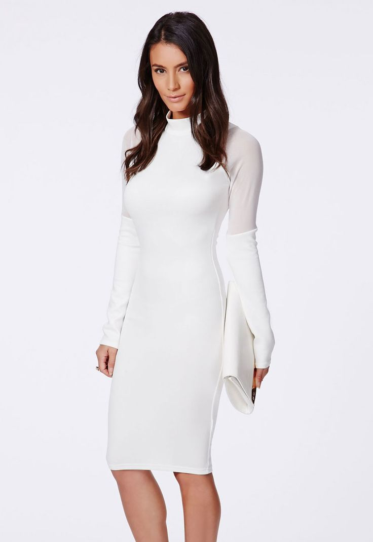 White High Neck Midi Dress with Mesh