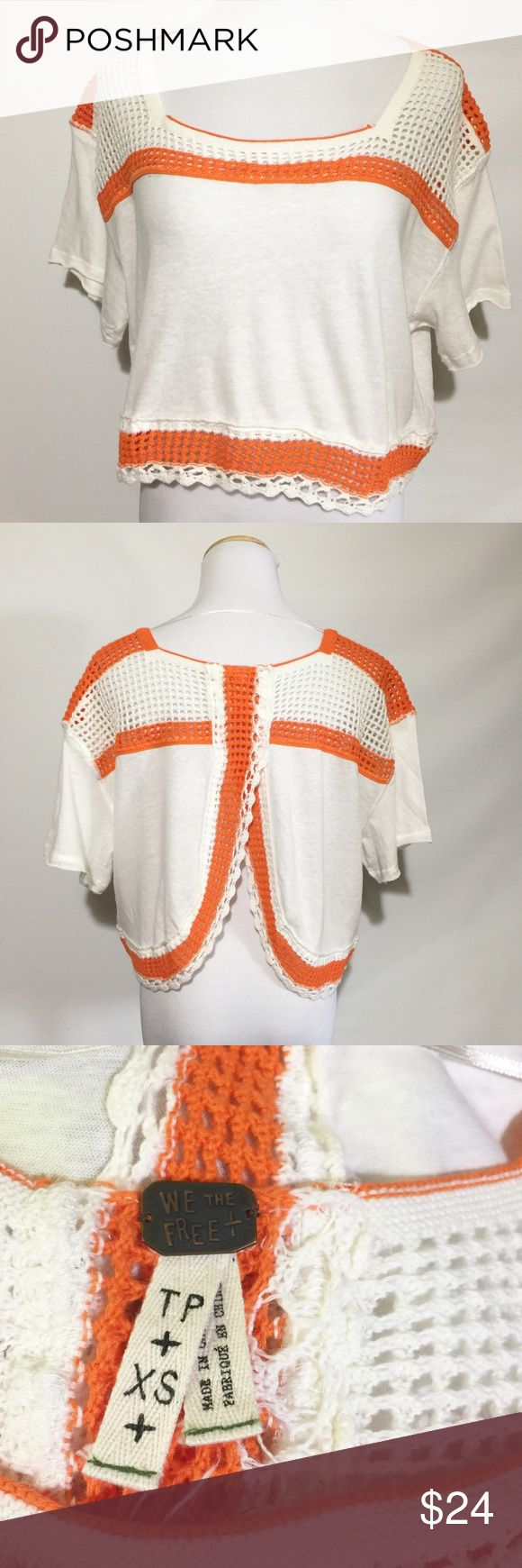 WE THE FREE CROP OPEN BACK TOP White with orange embroidered trim. GUC. Free People Tops Crop Tops
