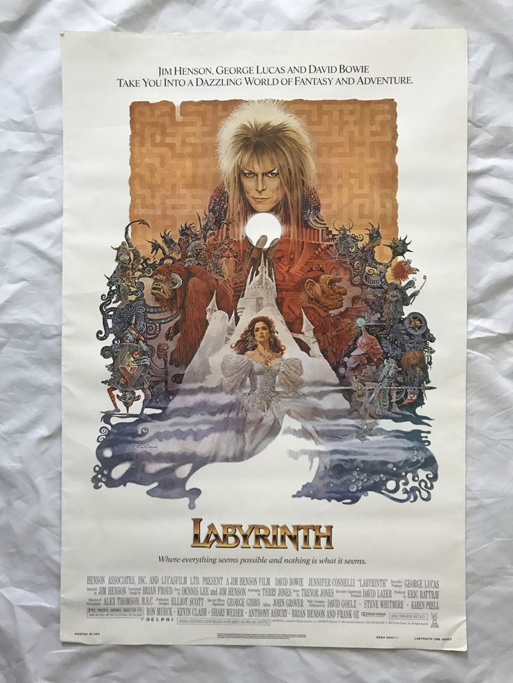 """""""LABYRINTH"""" 1986 ORIGINAL MOVIE POSTER FIRST ISSUE 27X41 DAVID BOWIE CONNELLY"""
