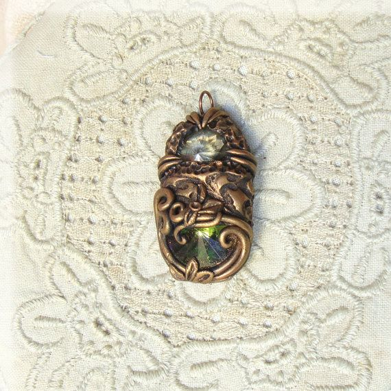 Handmade polymer clay pendant Bohemian Victorian by Sararmoniasara