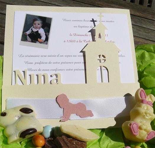 Faire-part baptême de Nina htp://www.fanita.fr