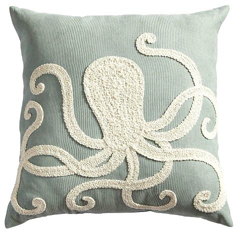 Embroidered Octopus Pillow from Pier 1: http://www.completely-coastal.com/2015/02/octopus-decor.html