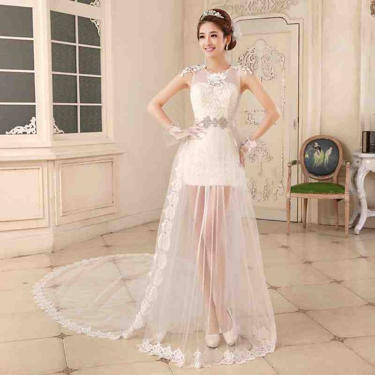 2017 New Style White Tail Short Spring Summer Brides Getting Married Bridal Trail