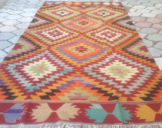 Turkish Kilim rug Bohemian Rug vintage rug turkish Kilim