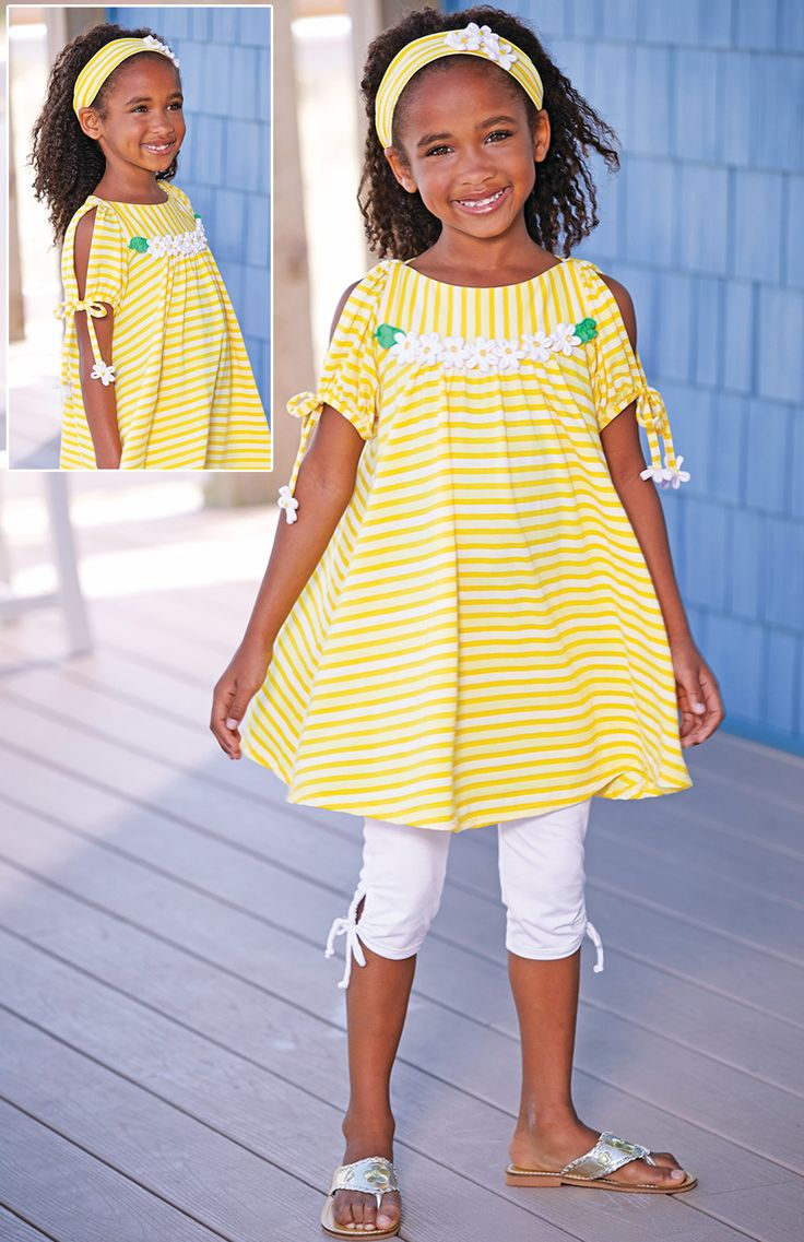 From CWDkids: Daisy Stripe Open Sleeve Tunic & Daisy Stripe Headband