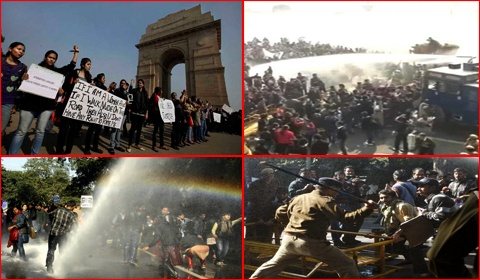 Protesters of Delhi gang rape case faced a heavy action by Delhi police. Delhi police used tear gas and lathi charge against them a India gate , Parliament street.