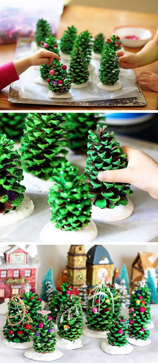 Easy Christmas Crafts For Kids Using Pine Cones  I think these DIY Pine Cone Trees are pretty nifty and would look great on a mantel for Christmas.