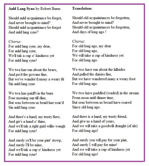 Auld Lang Syne Lyrics and Translation