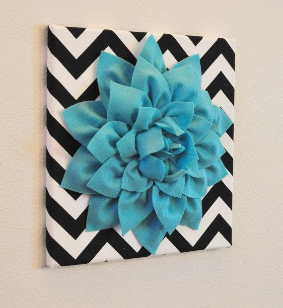 "Aqua Wall Flower -Turquoise Dahlia on Black and White Chevron 12 x12"" Canvas Wall Art- Baby Nursery Wall Decor-"
