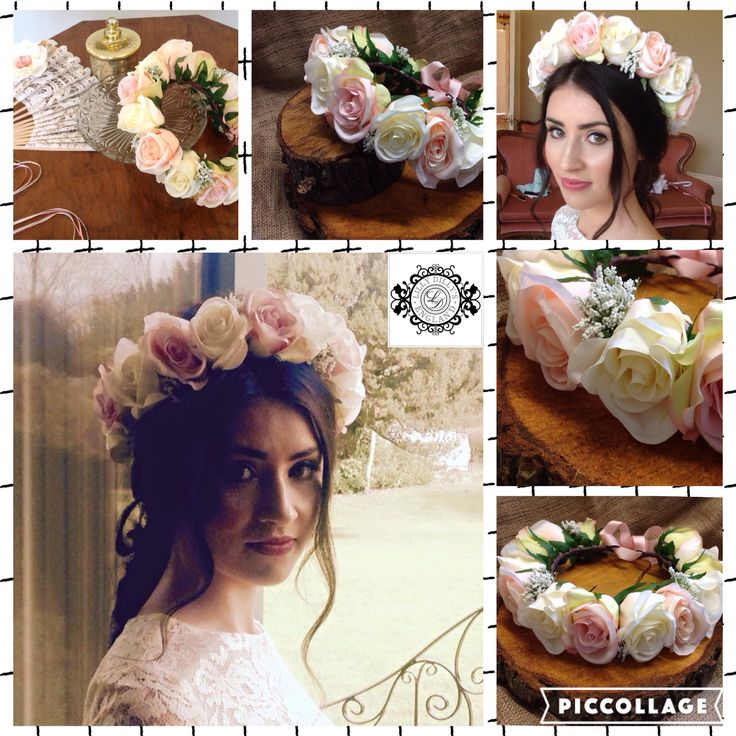 Bespoke handcrafted silk flower crown from Lilly Dilly's #wedding #bride #flower #crown #lilly dilly's #blush #pink #boho
