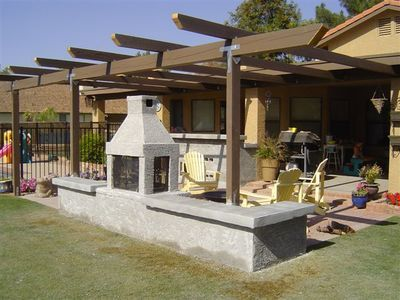 double-sided outdoor fireplace | Pergola, Outdoor ...
