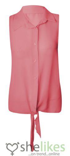 Camicia Donna Senza Maniche con Bottoni e Fiocco in Chiffon Trasparente | eBay
