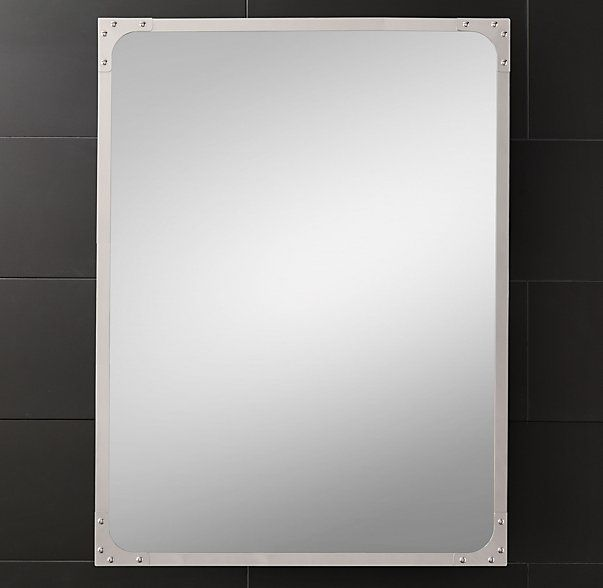 Industrial rivet flat mirror from restoration hardware for Large flat bathroom mirrors