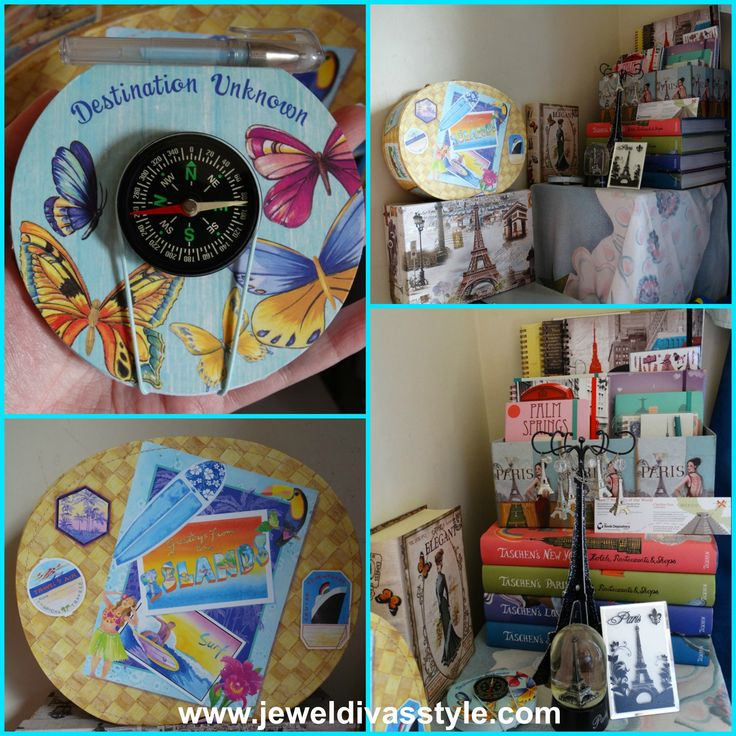 JDS - MY TRAVEL CORNER, Taschens books, Eiffel Towers, travel case and compass notebook - http://jeweldivasstyle.com/home-decor-style-my-travel-corner/