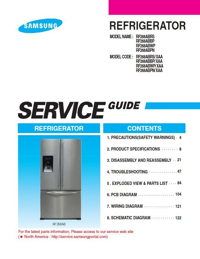 Samsung Rf268abrs Rf268abwp Rf268abbp Rf268abpn Refrigerator Service Manual Repair Guide Refrigerator Service Samsung Refrigerator