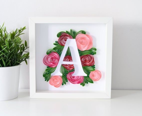 Quilling Monogram Letter A Personalized Gift Floral Wall Decoration Unique Paper Art Quilled Initial Monogram Wall Art Initial Wall Art Paper Art