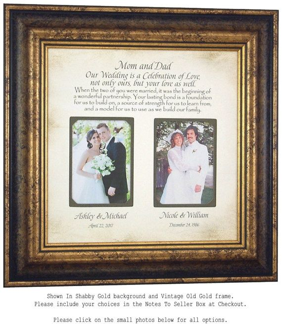 Personalized Picture Frame Wedding Gift For Parents Today By PhotoFrameOriginals