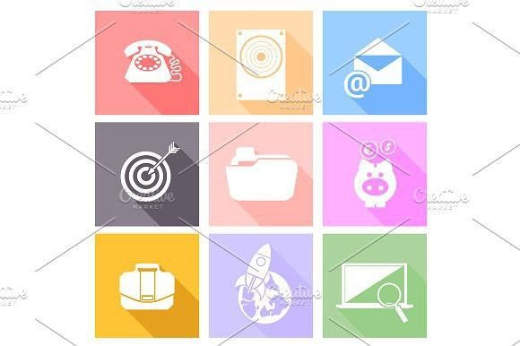 Set icons for web and mobile. Banner #business #vector