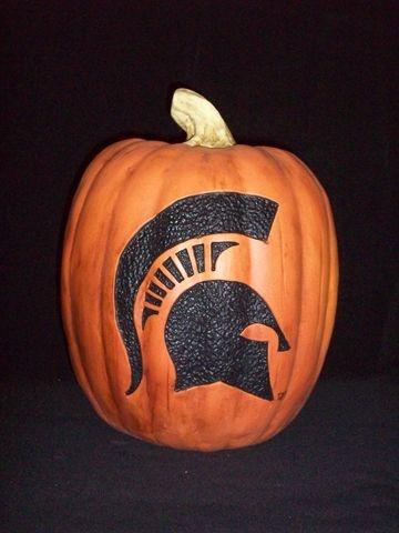 MSU Spartan Pumpkin...Perfect for football season!