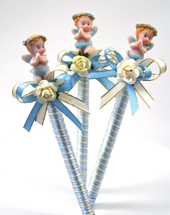 Ivory and Blue Baby Shower Pen Favor / Boy Party by FavorsBoutique, $38.00