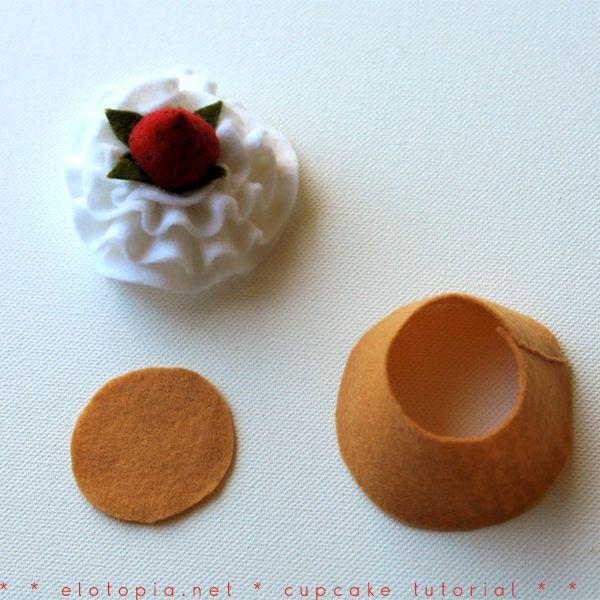 felt cupcake whip cream pattern in towelling,stuffed with sponge