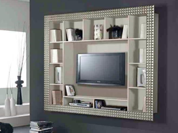 tv rack in art deco\' style silver and black for living room and dvd ...