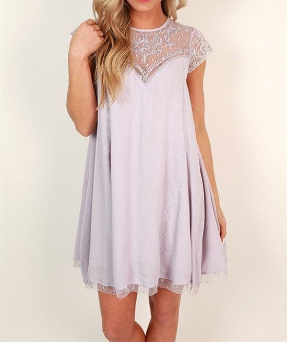 Cute Lilac Homecoming Dress,Short Sleeve Prom Dress, Tulle Casual Dress - Thumbnail 1