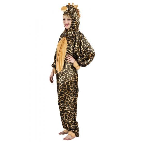 Dit giraffe dierenkostuum is gemaakt van 100% polyester. De pluche onesie is van schouder tot enkel is deze 1.80 meter, geschikt voor maat M tot XL. De capuchon met gezicht zit aan het pak vast.