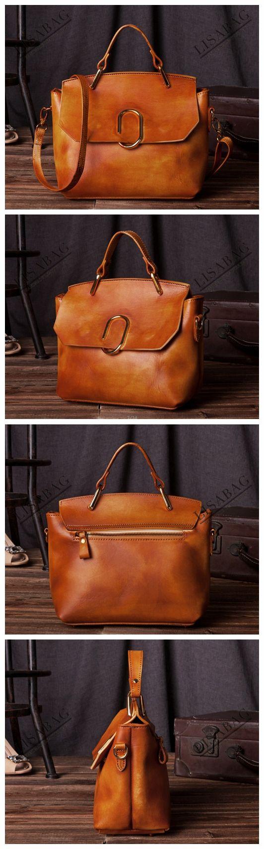 Handcrafted Women's Fashion Leather Handbag Messenger Bag Small Satchel in Shiny Brown C205--LISABAG