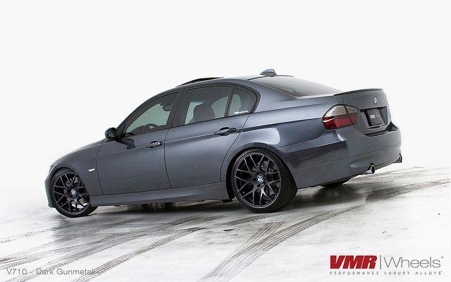 "VMR Wheels | 19"" Factory Dark Gunmetal V710 on Sparkling Graphite BMW E90 335i Sedan by VMR Wheels, via Flickr"