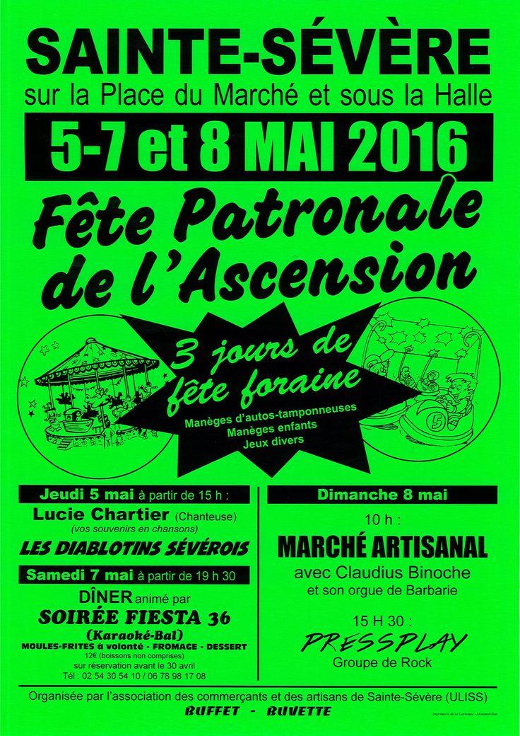 Fête patronale de l'Ascension, Sainte-Sévère-sur-Indre, Place du Marché, Jeudi 5 Mai 2016, 15h00 > Dimanche 8 Mai 2016, 19h00