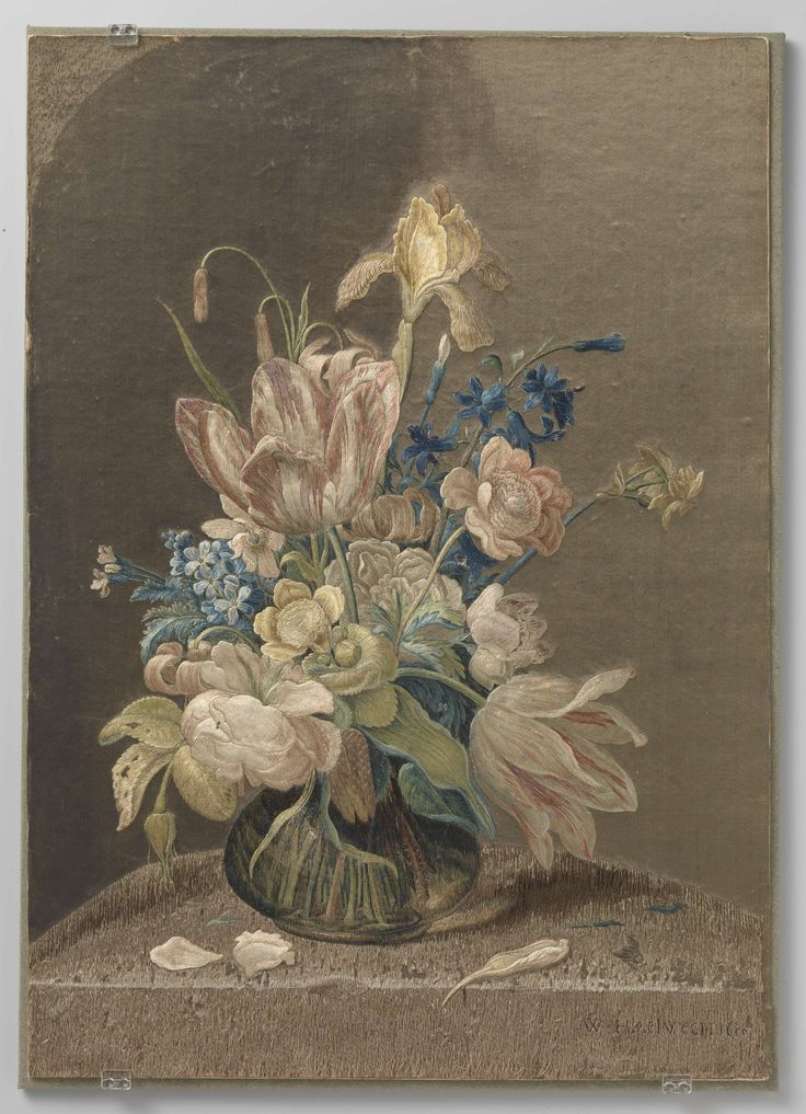 Tableau van veelkleurig geborduurde zijde, Wynant Haelwegh, 1650