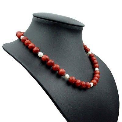 Kette Collier Koralle & Perlen 925 Silber rot dunkelrot weiß Korallenkette Damenkette