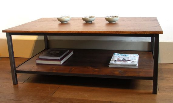 Industrial style coffee table by ppmwoodshop on Etsy