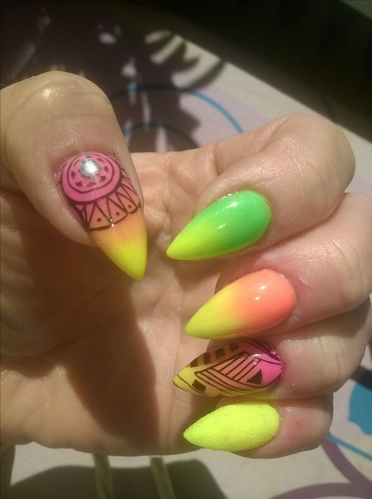 acrylic neon stamping nails