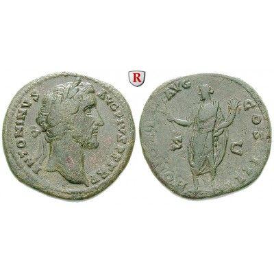 Römische Kaiserzeit, Antoninus Pius, Sesterz 145-161, ss: Antoninus Pius 138-161. Messing-Sesterz 32 mm 145-161 Rom. Kopf r. mit… #coins