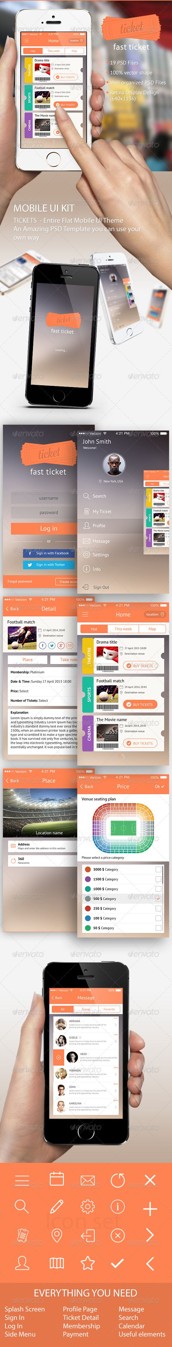 Ticket Mobile UI Template PSD. Download here: http://graphicriver.net/item/ticket-mobile-ui-template/6826262?ref=ksioks