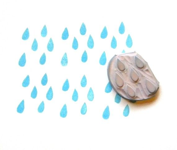 Rain drops hand carved rubber stamp by GreenGardenStamps on Etsy, $9.00