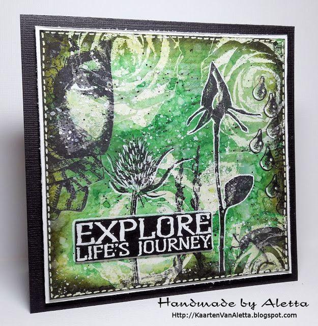 Handmade by Aletta: Art Journey Challenge #77: Zwart, Wit en 1 andere kleur