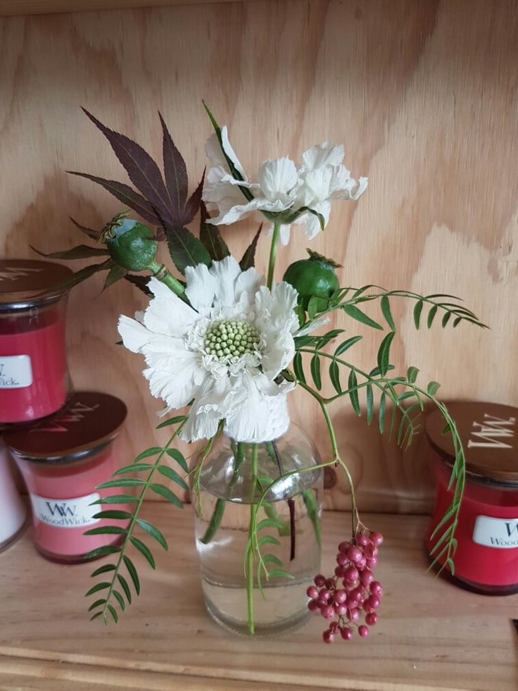 Poppy pods. Japanese Maple. Schinus and scabiosa. Woodwick candles
