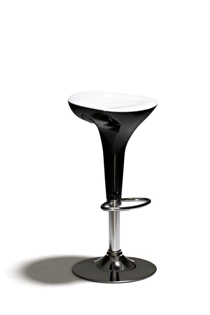 Melrose - Barstol, höj- och sänkbar, med sits i plast och underrede i kromat stål. Övre sits är vit och undre delen är svart.